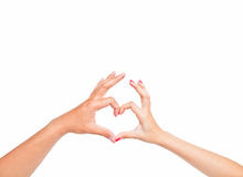 Love Hands on white background Stock Photography