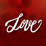 Love handwritten brush pen lettering on red hearts background, Valentine's Day, vector Stock Images