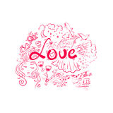 Love - handwritten word in pink color typography Stock Photography