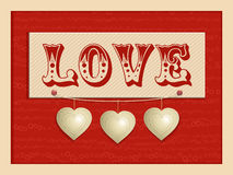 Love and hanging hearts background Stock Images