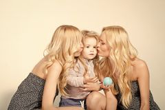 Love, happiness, parenting. Mother and son, happiness. Child small boy and twins women, relatives. Mothers day, family values, trust, childhood Happy family royalty free stock photos