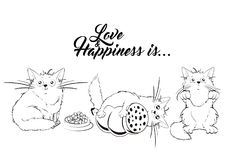 Love and happiness is... A set of illustrations with cute cats. Cats with sausage, cat food and asking royalty free illustration