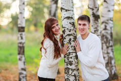 Love, happy couple in park with birch trees, summer, autumn suns Stock Photos