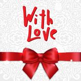 With Love - Happy Valentines day card with calligraphy text Royalty Free Stock Image