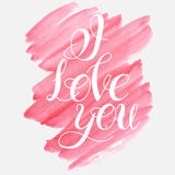 LOVE Happy Valentines day card. Vector image.LOVE Happy Valentines day card.I love you. Watercolor elements and patterns, calligraphic phras eIsolated on white Stock Photography