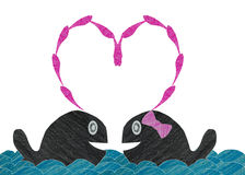 Love Happy whale on wave made from color pencil paper craft. Technique Stock Photos