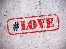 Love hashtag on the wall Stock Photo