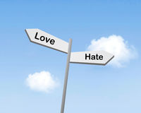 Love or hate. Symbolized as a sign Stock Photos
