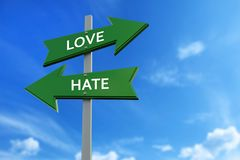 Love and hate arrows opposite directions. Arrows pointing two opposite directions towards love and hate Stock Images