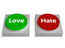 Love Hate Buttons Shows Appraise Or Hateful Royalty Free Stock Photography