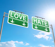 Love and hate concept. 3d Illustration depicting a sign with a love hate concept Stock Photo