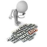 Love and hate. Love in hate concept, little man trying to look for love amongst a lot of hate Royalty Free Stock Image