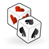 Love hate dices. Two dices with heart and spades symbols related to love and hate, and couple life problems or game, vector file available Stock Images