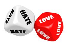 Love hate dices Stock Image