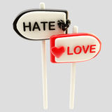 Love and hate glossy signpost signs Royalty Free Stock Photos
