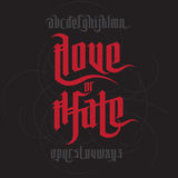 Love and Hate lettering Royalty Free Stock Images