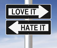 Love or Hate. Modified one way signs indicating Love It and Hate It Royalty Free Stock Photos