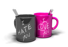 Love hate relationship. Two mugs where it s written i love you and i hate you concept of a love-hate relationship vector illustration