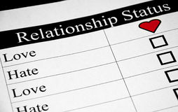 Love-Hate Relationship. A Love-Hate Relationship Status Checker Royalty Free Stock Photography