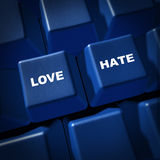 Love hate relationships communication impressions. Love hate computer keyboard keys representing relationships and communication royalty free stock photos