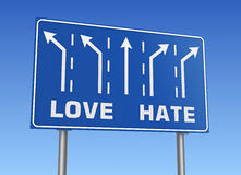 Love hate road sign Royalty Free Stock Image