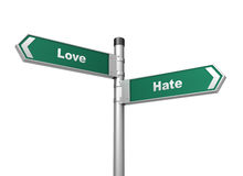 Love hate road sign Royalty Free Stock Photo