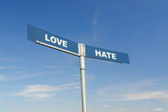Love and Hate signpost Royalty Free Stock Images
