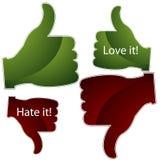 Love it Hate it Thumbs Stock Photo