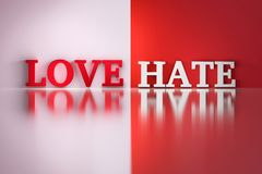 Love Hate words in white and red colors on the white and red reflective background royalty free illustration