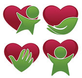 Love health, hearts, people and medicine symbols and icons Stock Photos