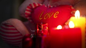 Love Hear and Candles. Video very useful in valentines day birthday or new year concept stock video footage