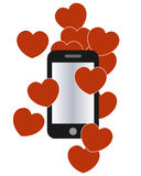 Love hears and smartphone graphic Royalty Free Stock Image