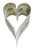 Love heart. Heart of dollar bills (love) top view Royalty Free Stock Photos