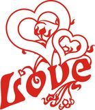 Love heart. Designed for two-drawn valentine heart graphic royalty free illustration