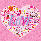 Love Heart. Made of many different design elements Stock Photography