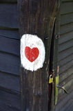 Love heart. Painted on a wooden hut Stock Image