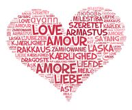 Love heart. A heart with the word love written in every language of the world royalty free illustration