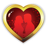 Love_heart. Heart silhouette of  girl and  guy in love Royalty Free Stock Images