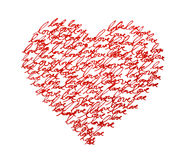 Love Heart. Words love written with red ink, arranged in the shape of a heart Stock Photos