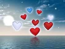 Love heart. Over the ocean - 3d rendering Stock Photo