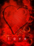 Love heart. Love, grunge, red heart art Royalty Free Stock Photos