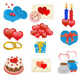 Love heart. Beautiful valentine hearts icons collection,  vector illustration Stock Photos