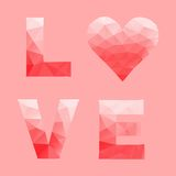 Love and heart by abstract geometric triangle in low poly style. Vector illustration Stock Images