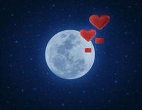 Love heart air balloon on fantasy night sky and moon Stock Image