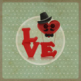 Love heart air balloon man character on vintage background Stock Photo