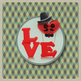 Love heart air balloon man character on vintage background Stock Images