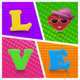 Love heart air balloon man character on vintage background Royalty Free Stock Photography