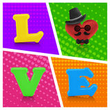 Love heart air balloon man character on vintage background Royalty Free Stock Photo