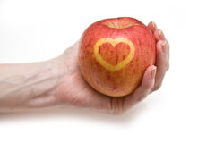Love heart on apple Royalty Free Stock Photos