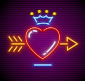 Love heart with arrow and Royal crown vector. Love Heart stricken by gold arrow. Neon icon for sign with Royal crown. Symbol of love made of neon lamps with